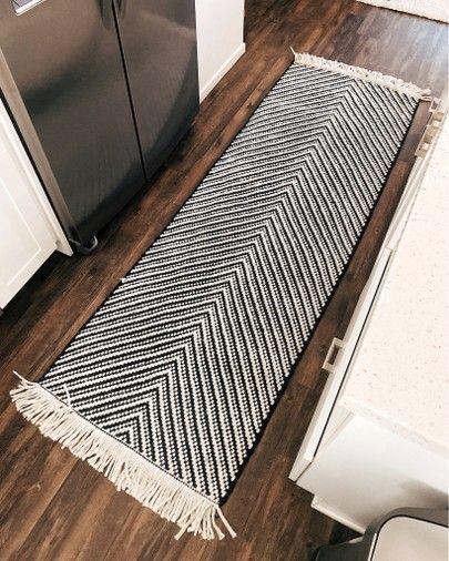 kitchen rug runner, black white stripe rug, chevron runner