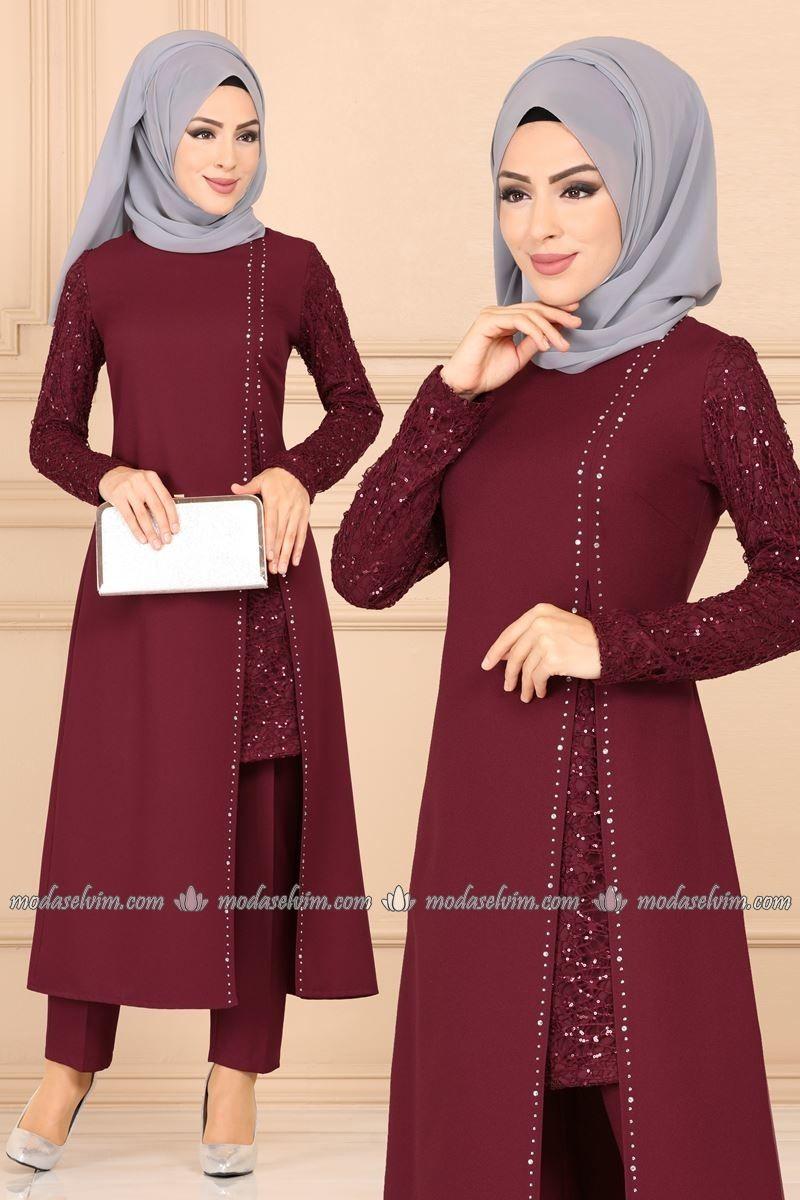 Pul Payetli Tesettur Abiye Takim Asm2182 Bordo Moda Selvim The Dress Elbiseler Elbise