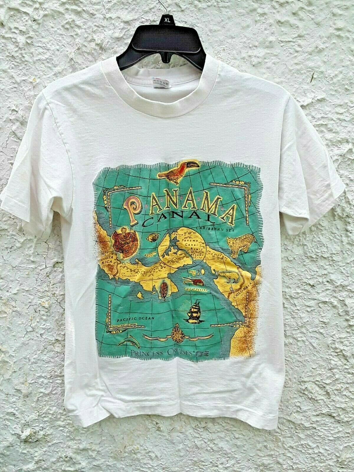 Vintage 90s Panama Canal Shirt Fruit of The Loom Made in
