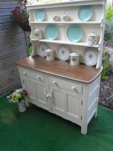 STUNNING ERCOL OAK ELM WELSH DRESSER SHABBY CHIC Old English White