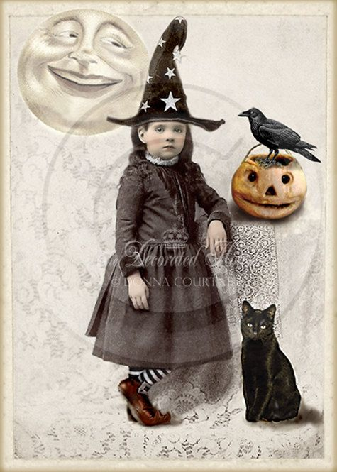 Vintage Photo Print Cute Little Halloween Witch