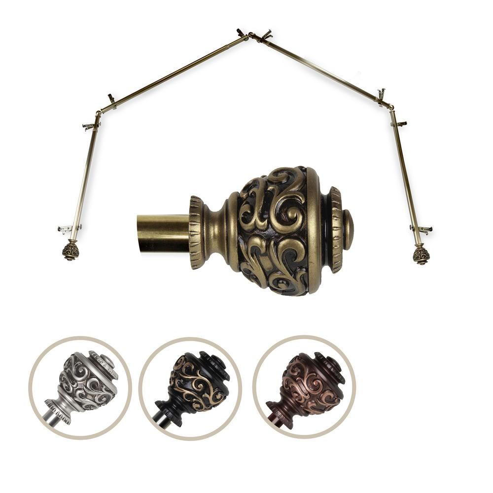 Emoh 13 16 Dia Adjustable 4 Sided Bay Window Curtain Rod 28 To 48 Each Side In Antique Brass With Diana Finials H4bay 89 4 Bay Window Curtain Rod Curtain Rods Bay Window Curtains
