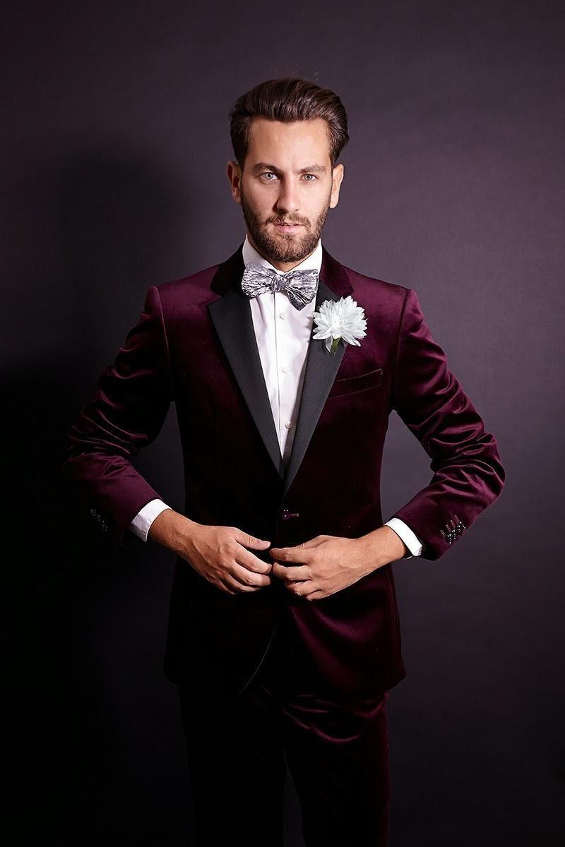 Burgundy Velvet Slim Fit Groom Tuxedos Wedding Suits Custom Made Groomsmen Best Man Prom Black Pants Jacket Bow Tie Hanky As Low 77 67