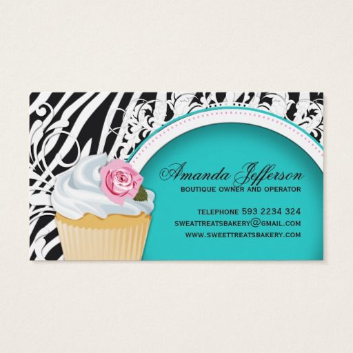 Stylish zebra print cupcake business cards cupcake imagem stylish zebra print cupcake business cards reheart Gallery
