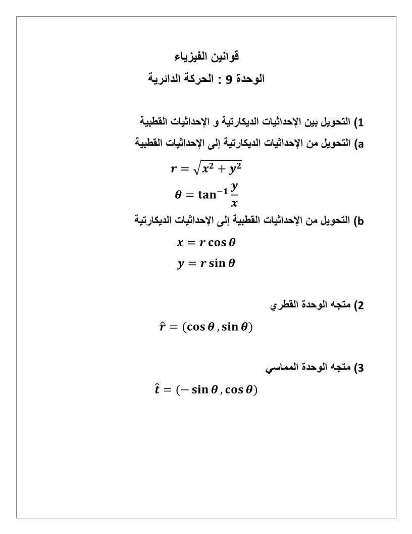 الفيزياء قوانين الحركة الدائرية للصف الحادي عشر Math Math Equations