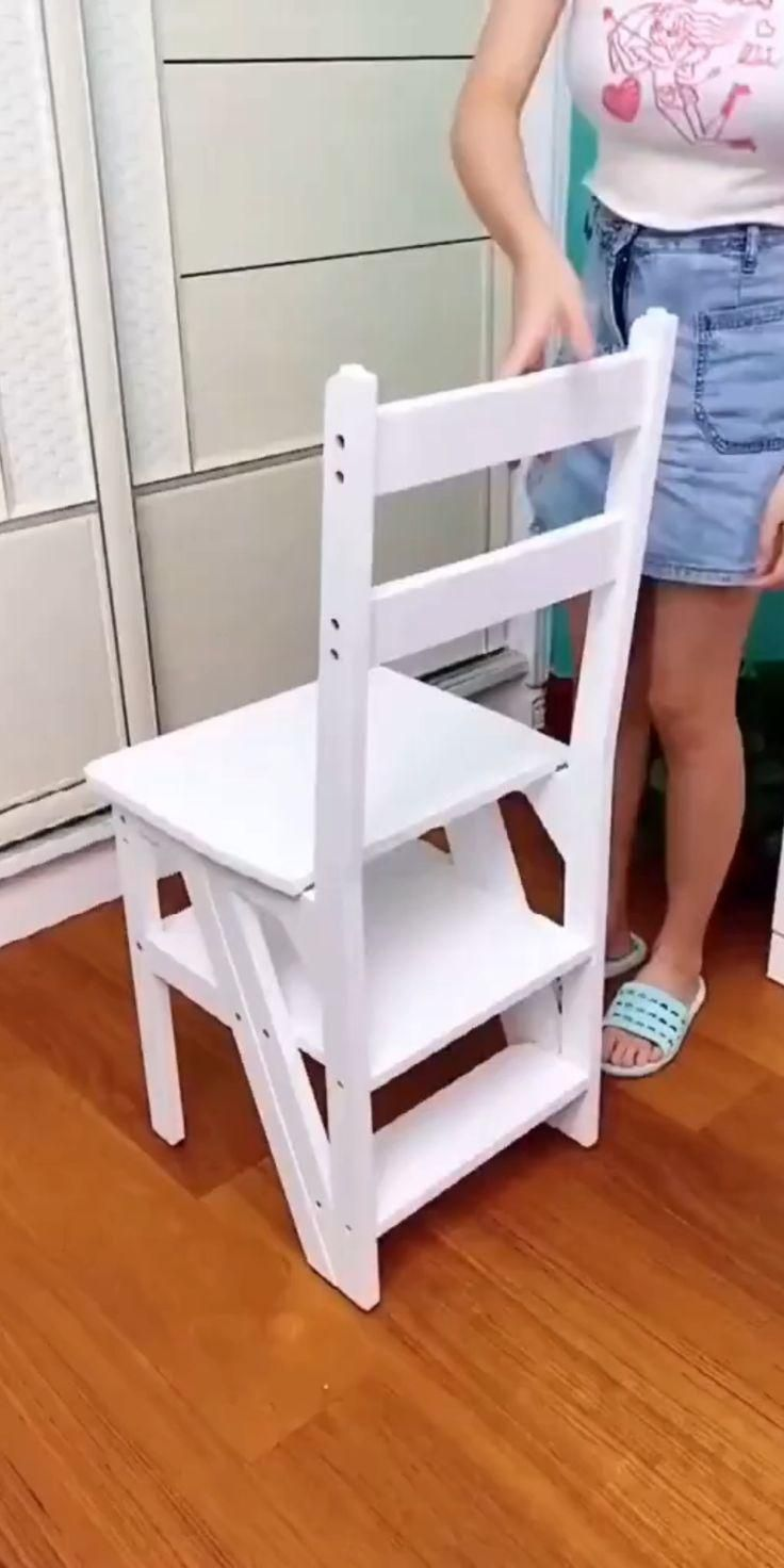 Step Chair/Step Stool/Ladder Multi-Functional Convertible Folding Library Ladder Chair
