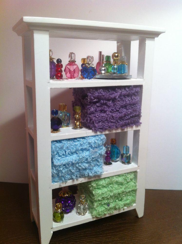 Dollhouse Miniature Shelves Bathroom Closet Perfume Towels By Piera  #PieraArt