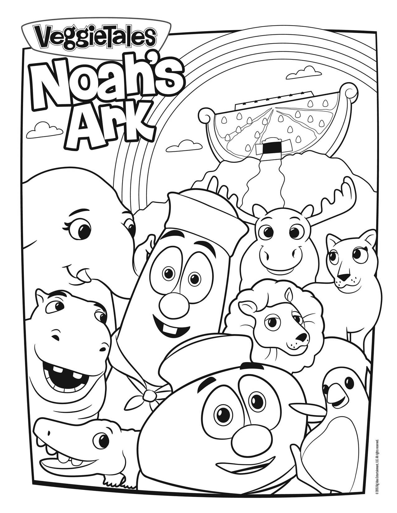 Coloring pages christian preschool - Veggietales Noah S Ark Coloring Page