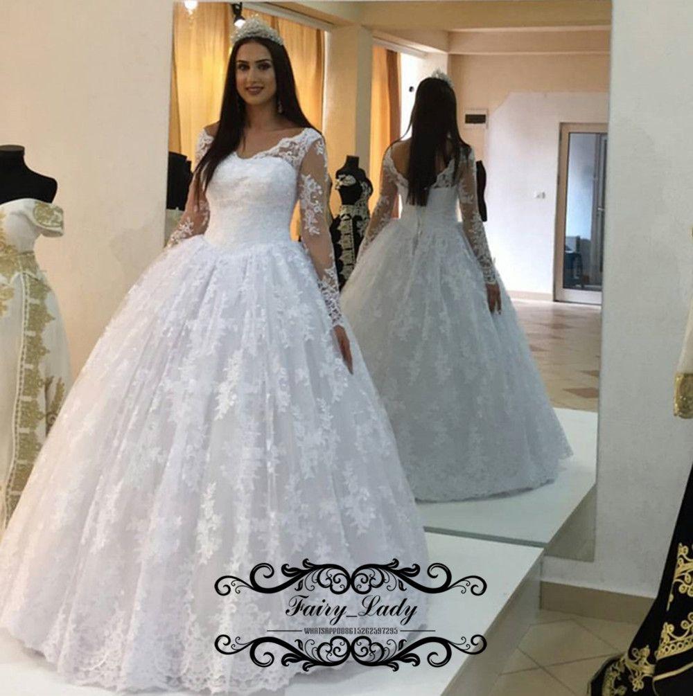 Dubai Arabic Women Full Lace Wedding Dresses 5 Illusion Sheer