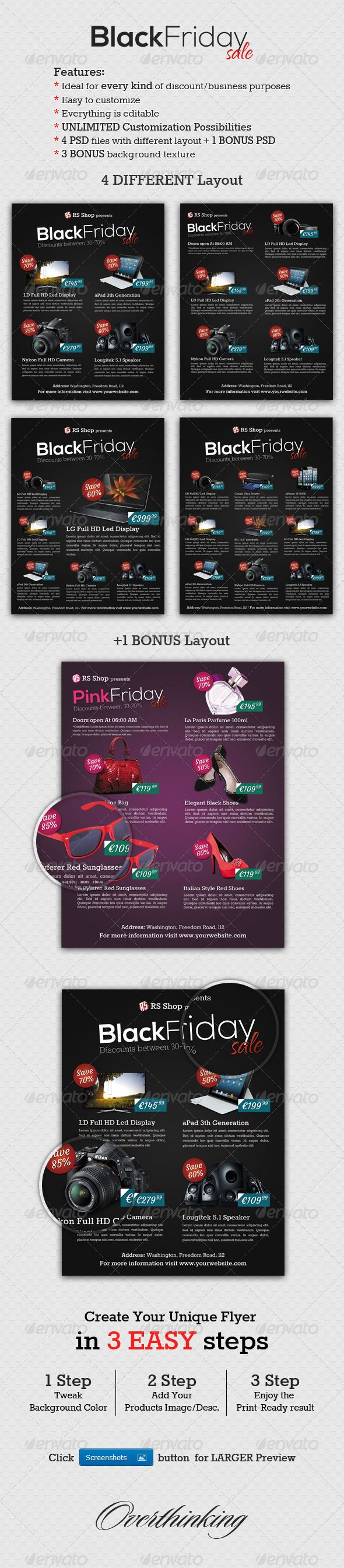 Black Friday Promotion / Sale Flyer Template  #GraphicRiver         Black Friday Promotion / Sale Flyer Template is ideal to promote your Company`s sale, promotion or discount campaigns. If you want professional, eye-catching, clean designed flyers, these premium templates could be a great choice for You.   Can be useful for any type of shopping department, like: accessories, clothes, fashion, furniture, electronics, computers, office, appliances, gadgets, mobile phones, health or any…