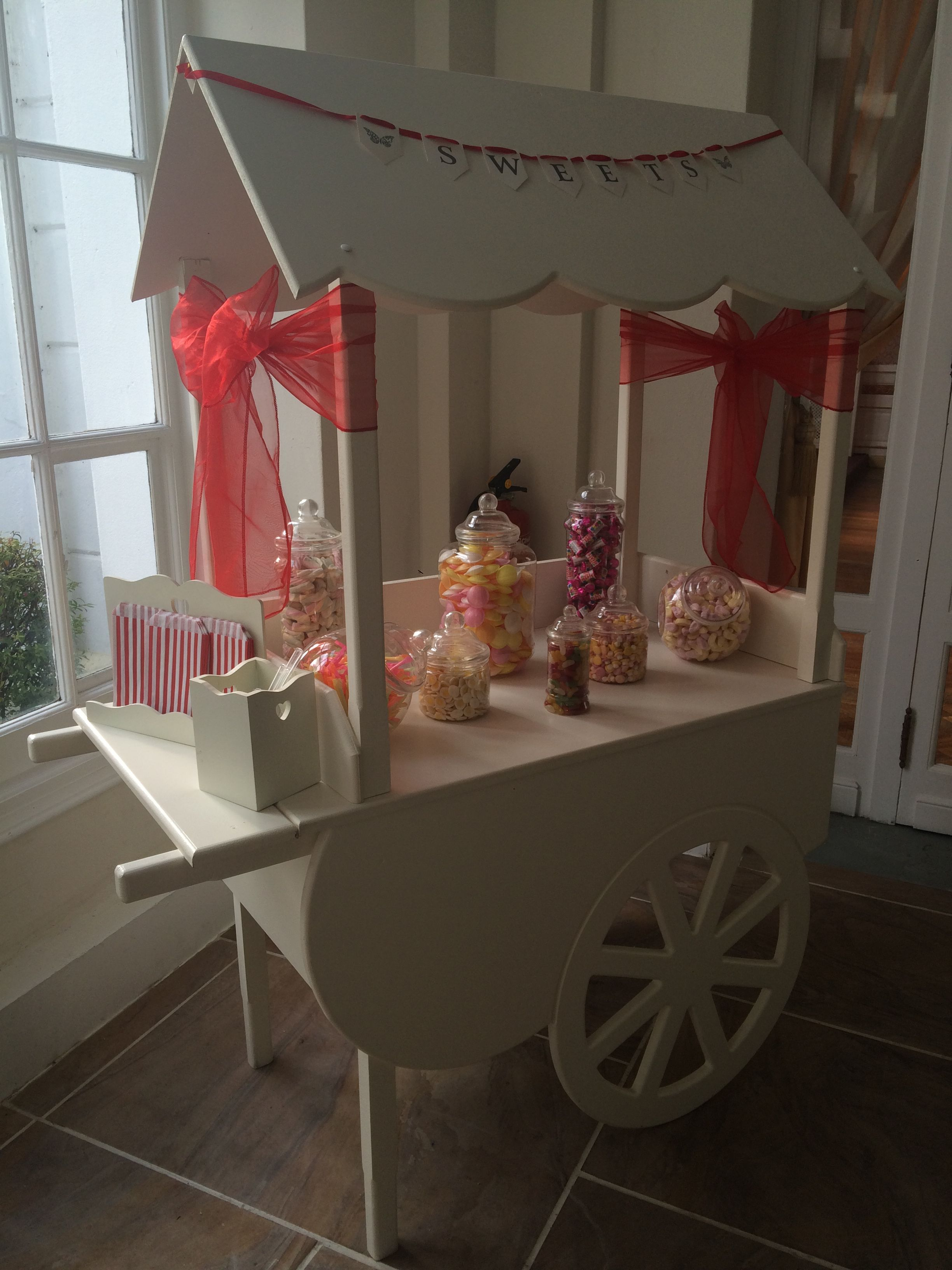 Red Themed Candy Cart In A South Wales Wedding Provided By Affinity Event Decorators Light Backdrop Fairy Light Backdrops Decor