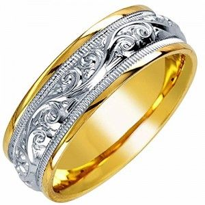 14K Two Tone Gold Floral Paisley Mens Wedding