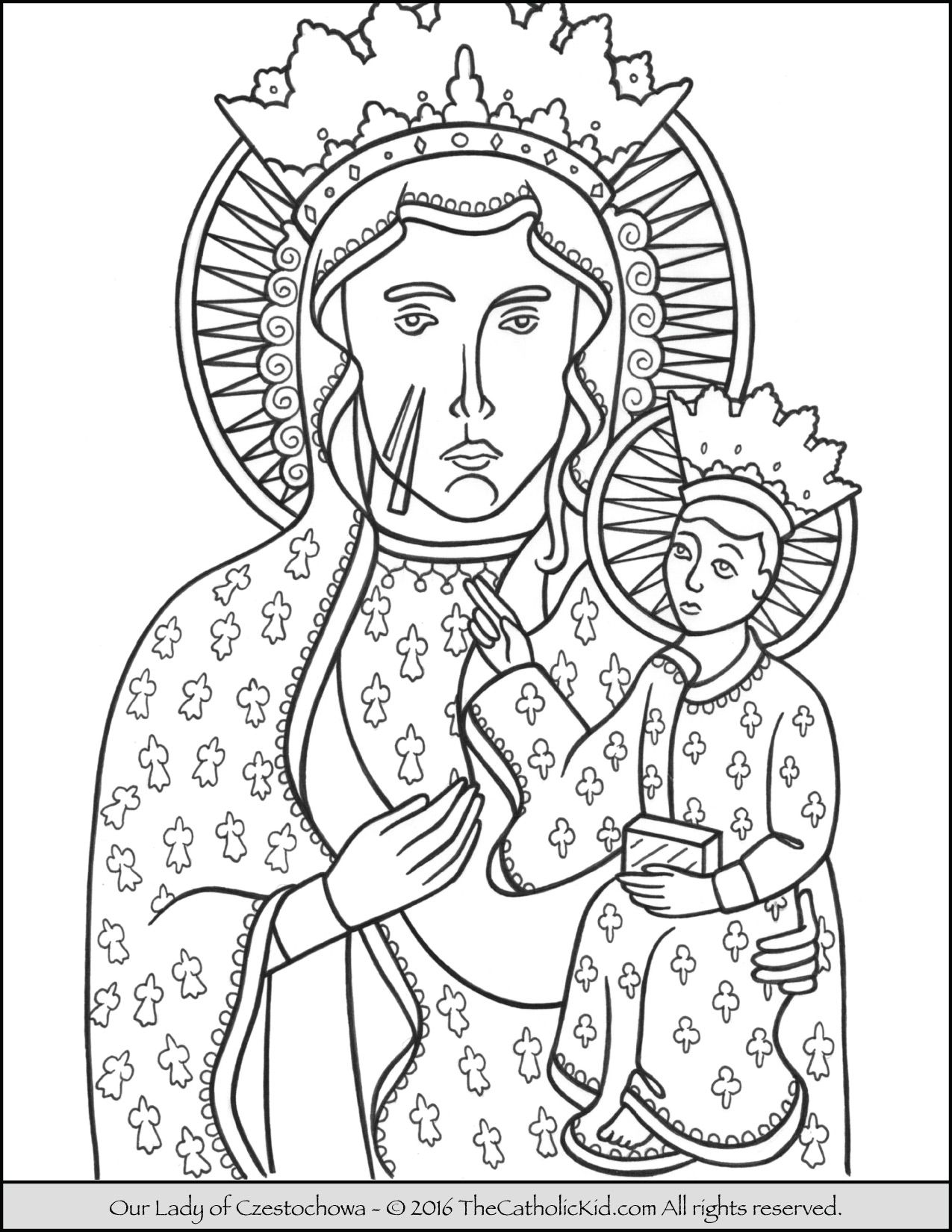 Our Lady of Czestochowa Coloring Page | Catholic Coloring Pages for ...