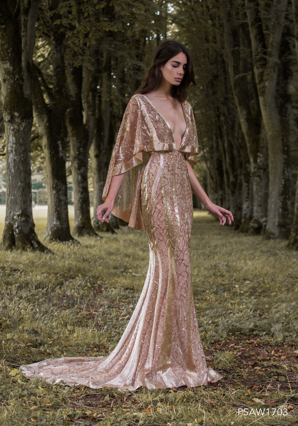 Psaw caped gown with molten rose gold embroidery fashion