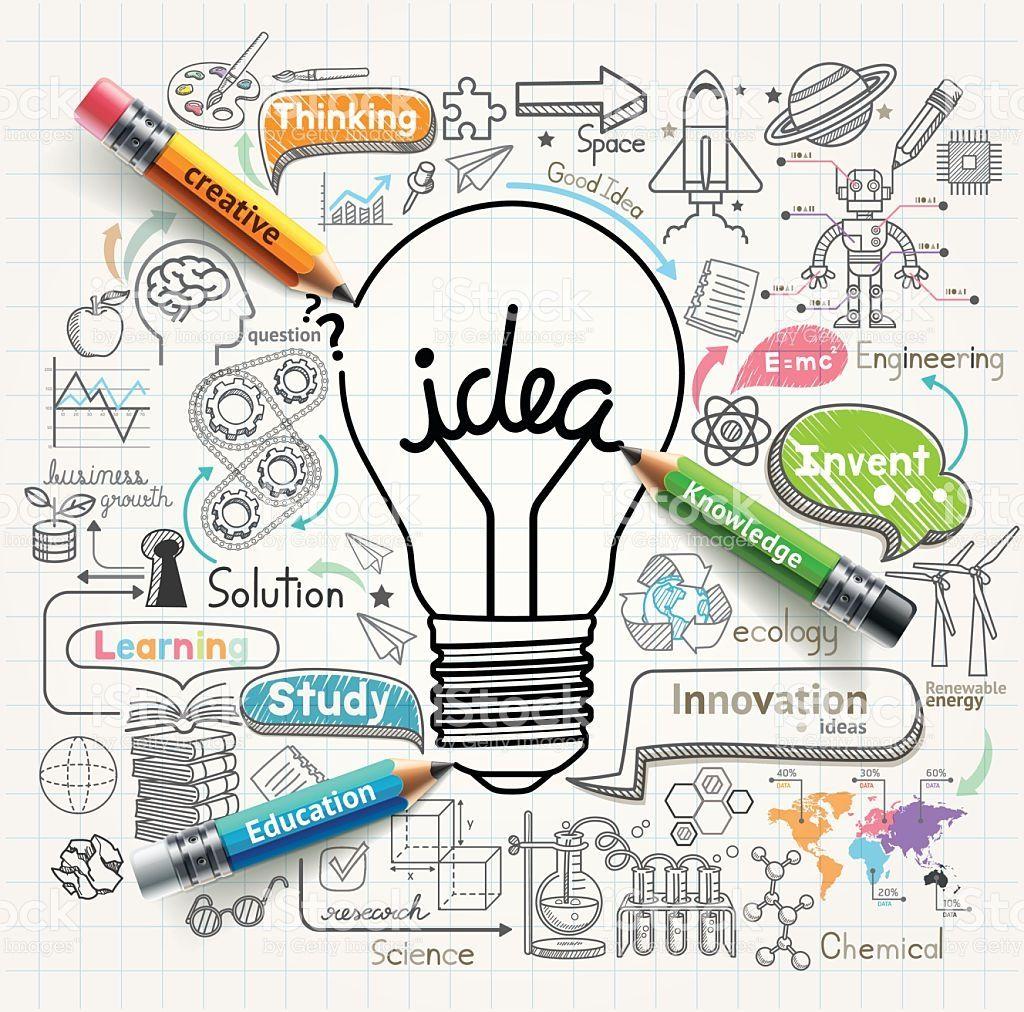 の電球のアイデアスケッチコンセプトアイコンを設定します。 ロイヤリティフリーのイラスト素材