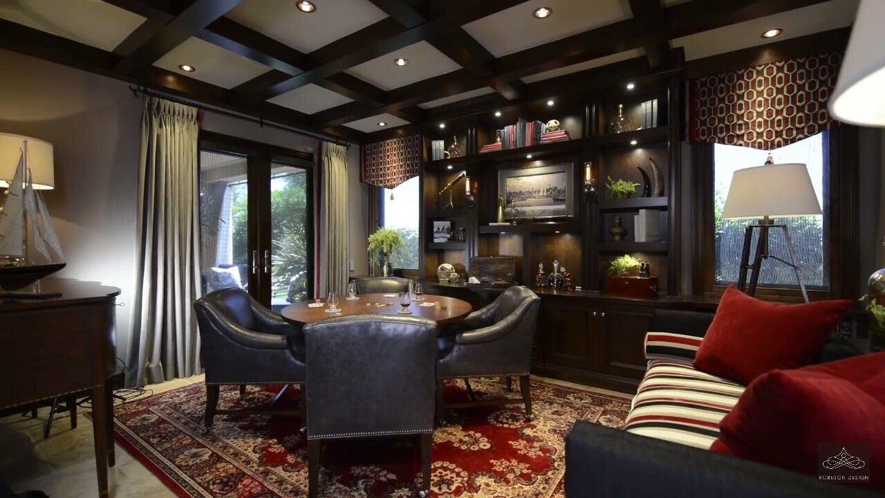 Rebecca Robeson Design Love The Dark Finishes And The Hints Of Red