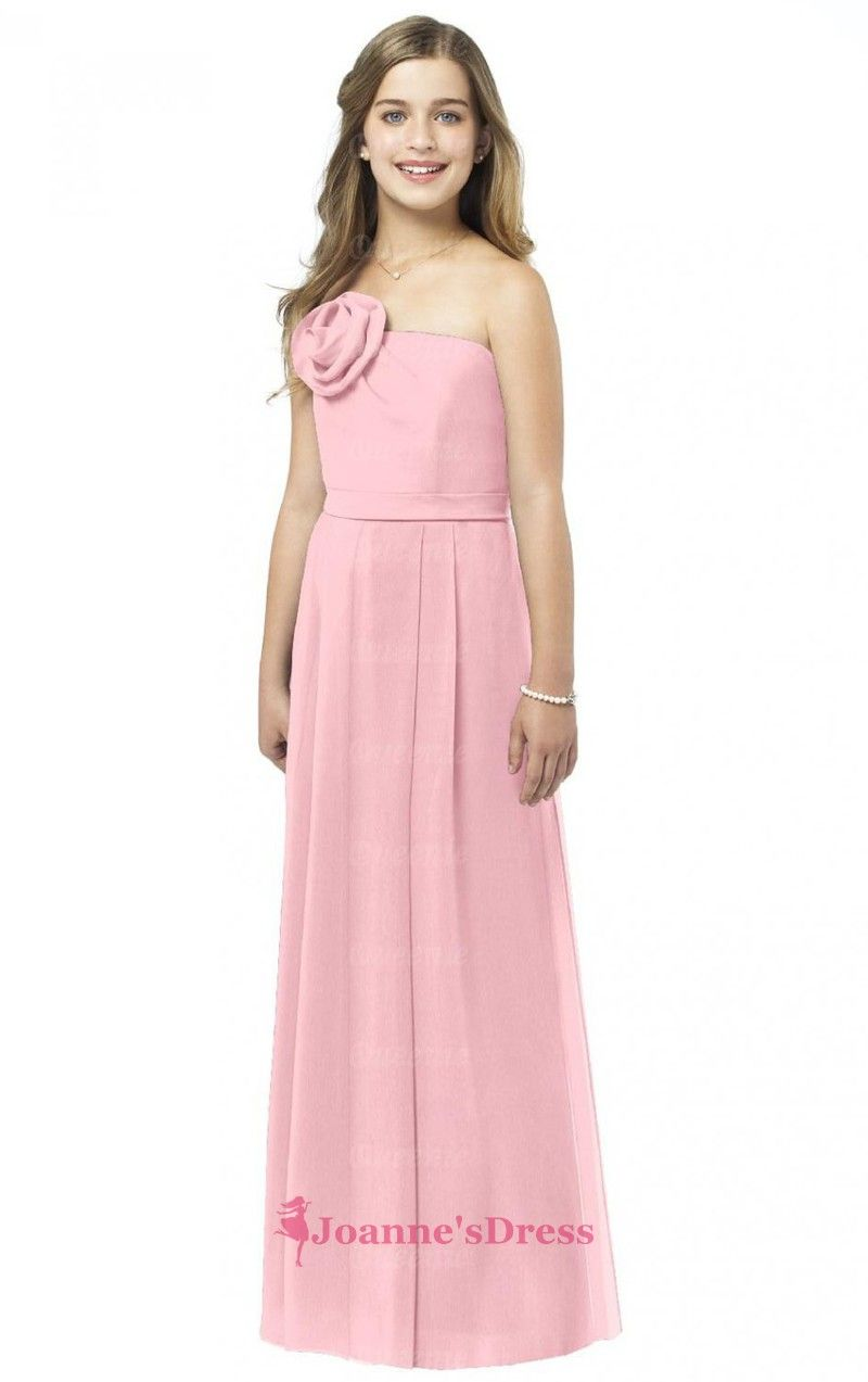 Chiffon Pink Princess Strapless Handmade Flower Bridesmaid Dresses ...