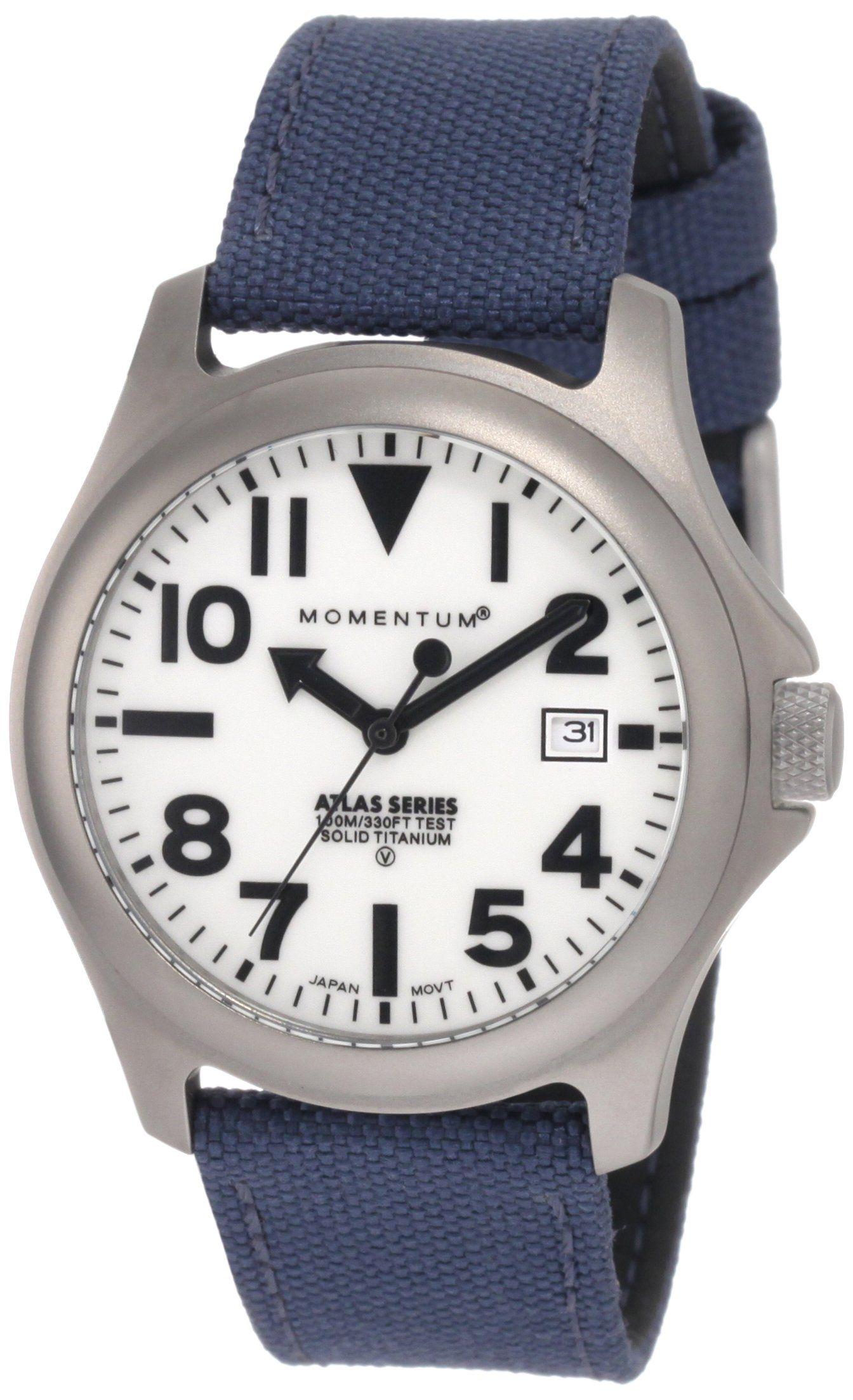 Momentum Men's 1M-SP00W6U Atlas White Dial Blue Cordura Watch. Quartz sports watch, solid titanium, luminous dial. Date feature, large numbers, screw crown. Matte-finish. Water-resistant to 330 feet (100 M). Water resistant to 330 feet (100 M): suitable for snorkeling, as well as swimming, but not diving.