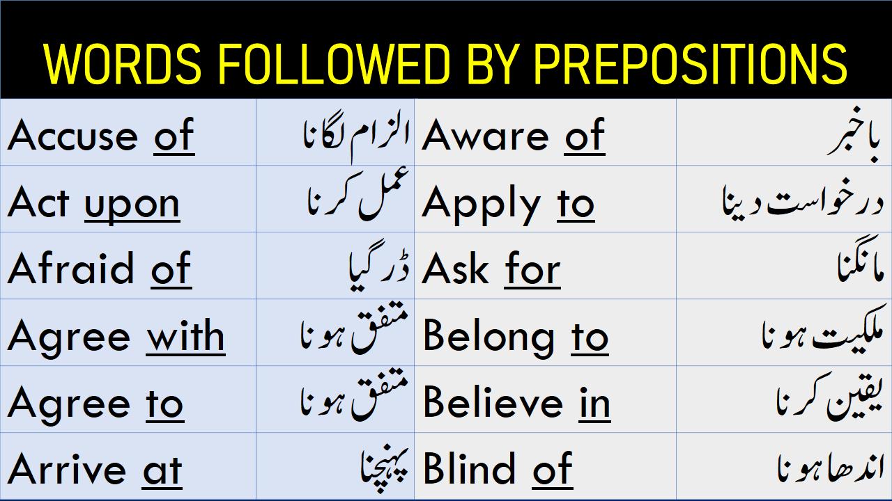 100 Words Followed By Appropriate Prepositions In Urdu Prepositions Prepositional Phrases English Words