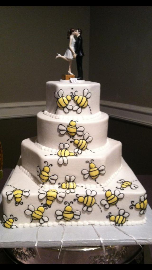 Gray And Yellow Wedding Bumble Bee Theme Cake Multiple Shaped Layered