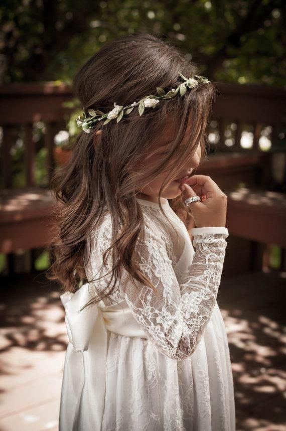 aa5187f945c3 Lace Flower Girls · Little Girl / Toddler Long Lace Maxi Dress. Flower  Girl's Dresses in Off White Lace