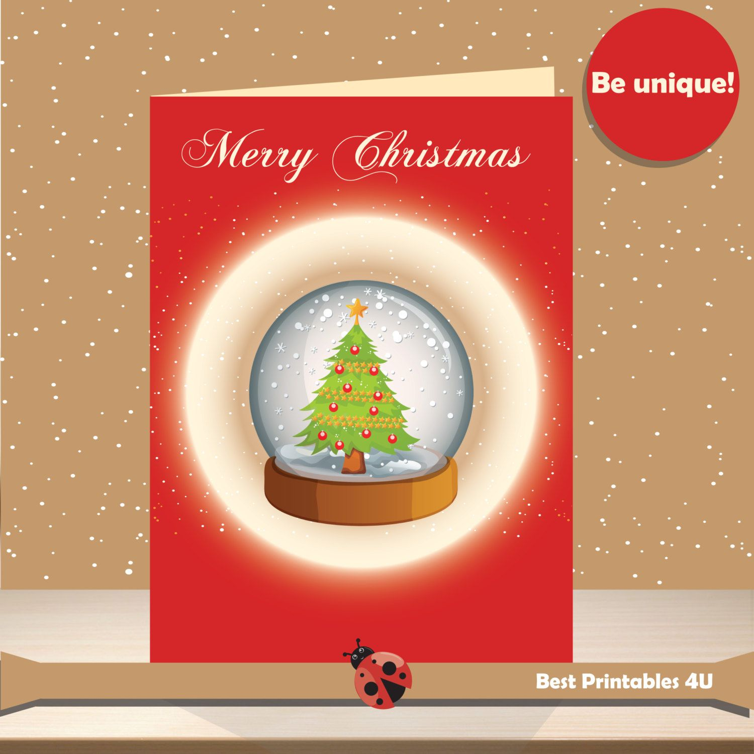 50% OFF SALE Printable Christmas Cards 5x7 Snowglobes , Merry ...