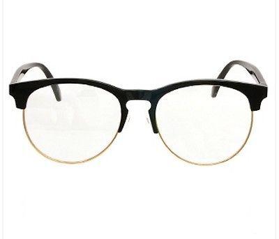 f94d87a3b2 HOT Black Frame Gold Rim Clear Lens Glasses Retro Wayfarer Nerd Style GP