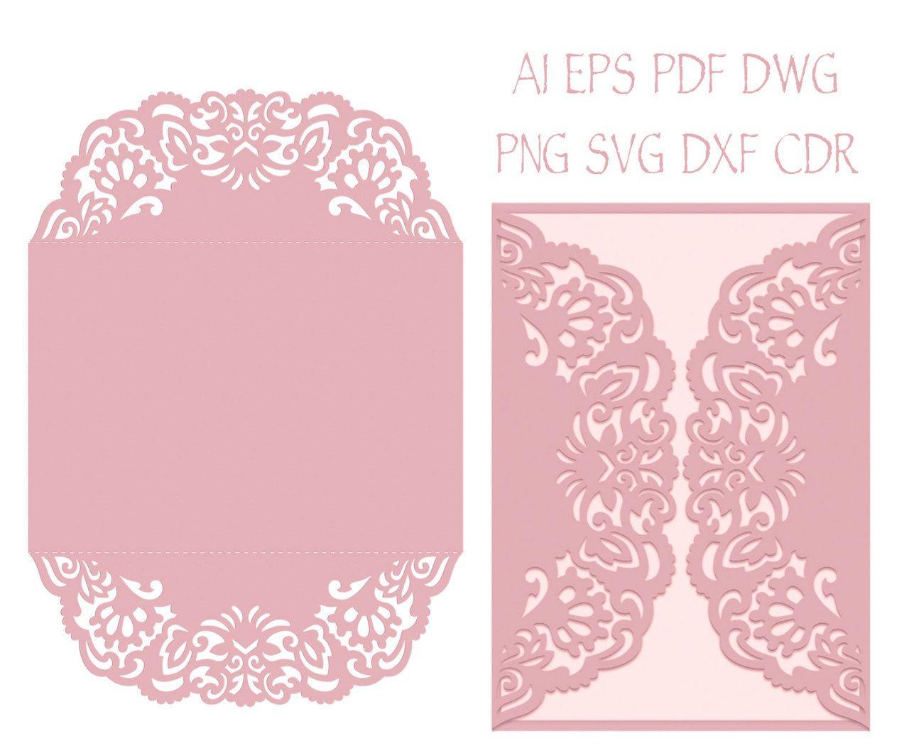 Gate Fold Wedding Invitation Laser Cut Card Template With ...