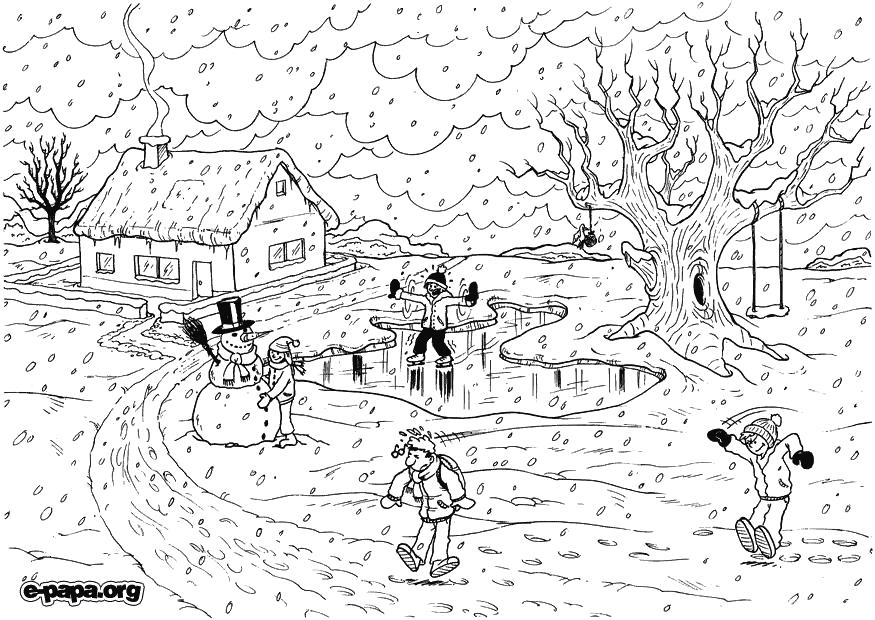 Ausmalbilder für Kinder Winter. de homepagina geeft een mooi winterlandschap te gebruiken op het digibord