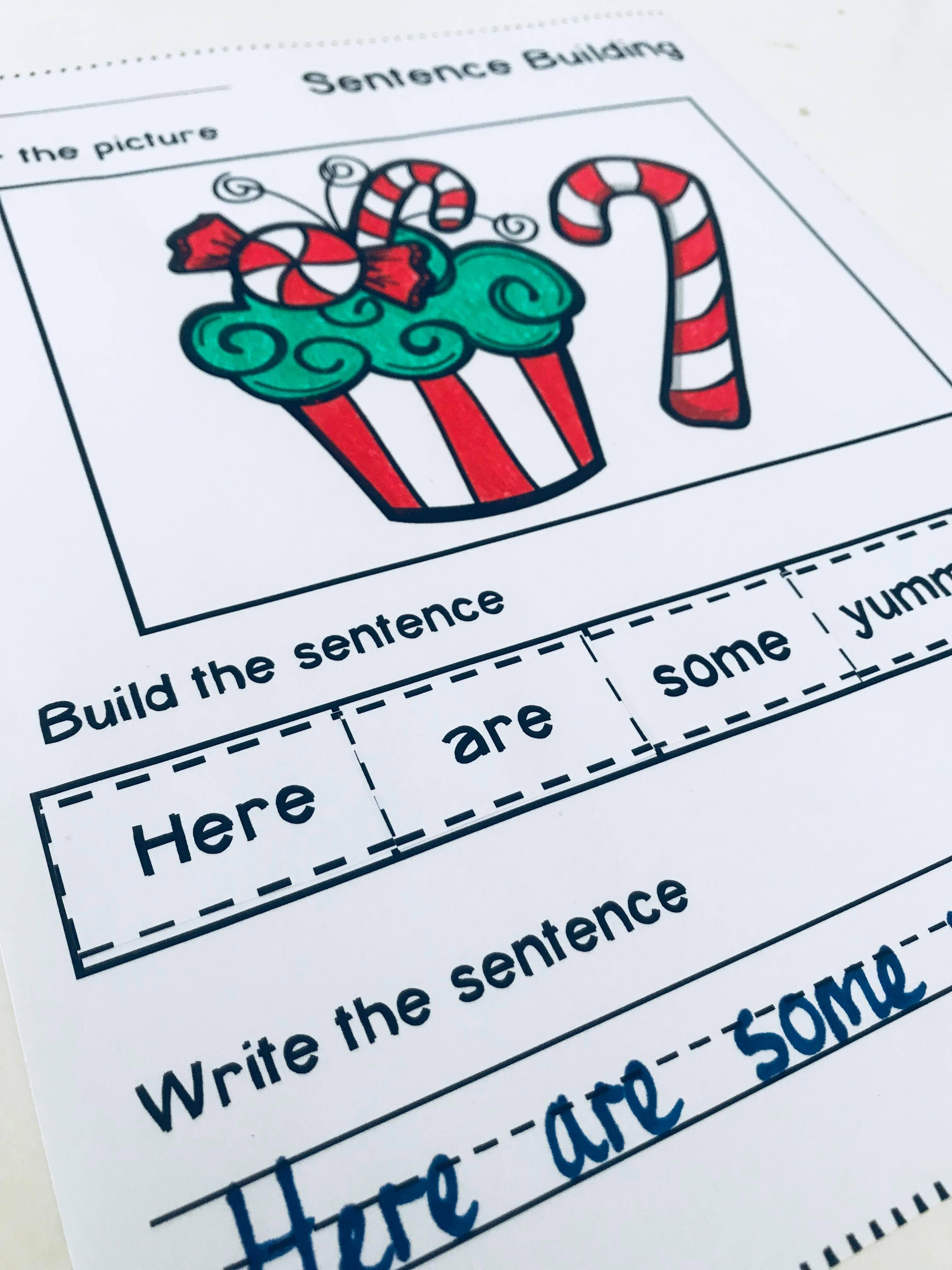 Christmas Sentence Building With Images
