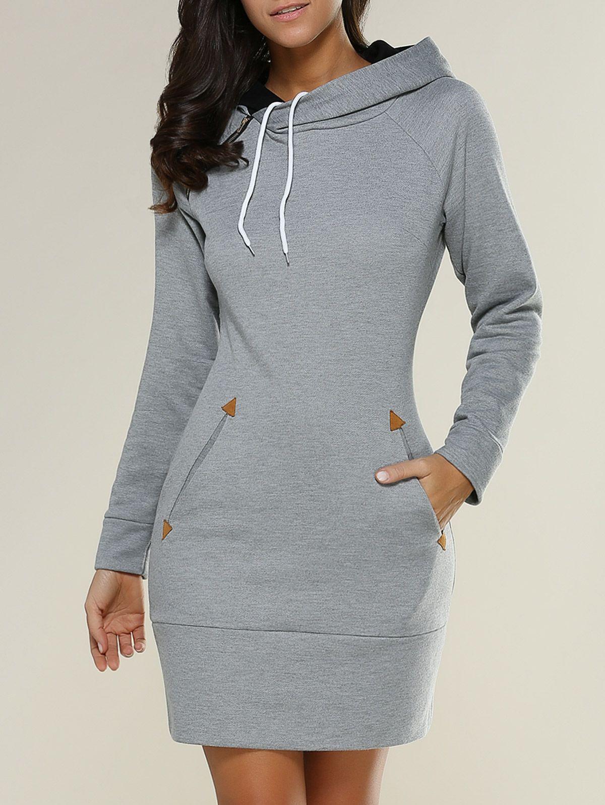 Tight short long sleeve long hoodie mini dress comfy casual minis