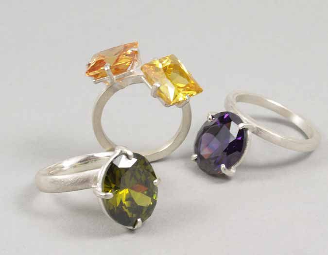 SS954  Brighten up your day - stg silver, cubic Zirconia: double $345 green,purple  $285