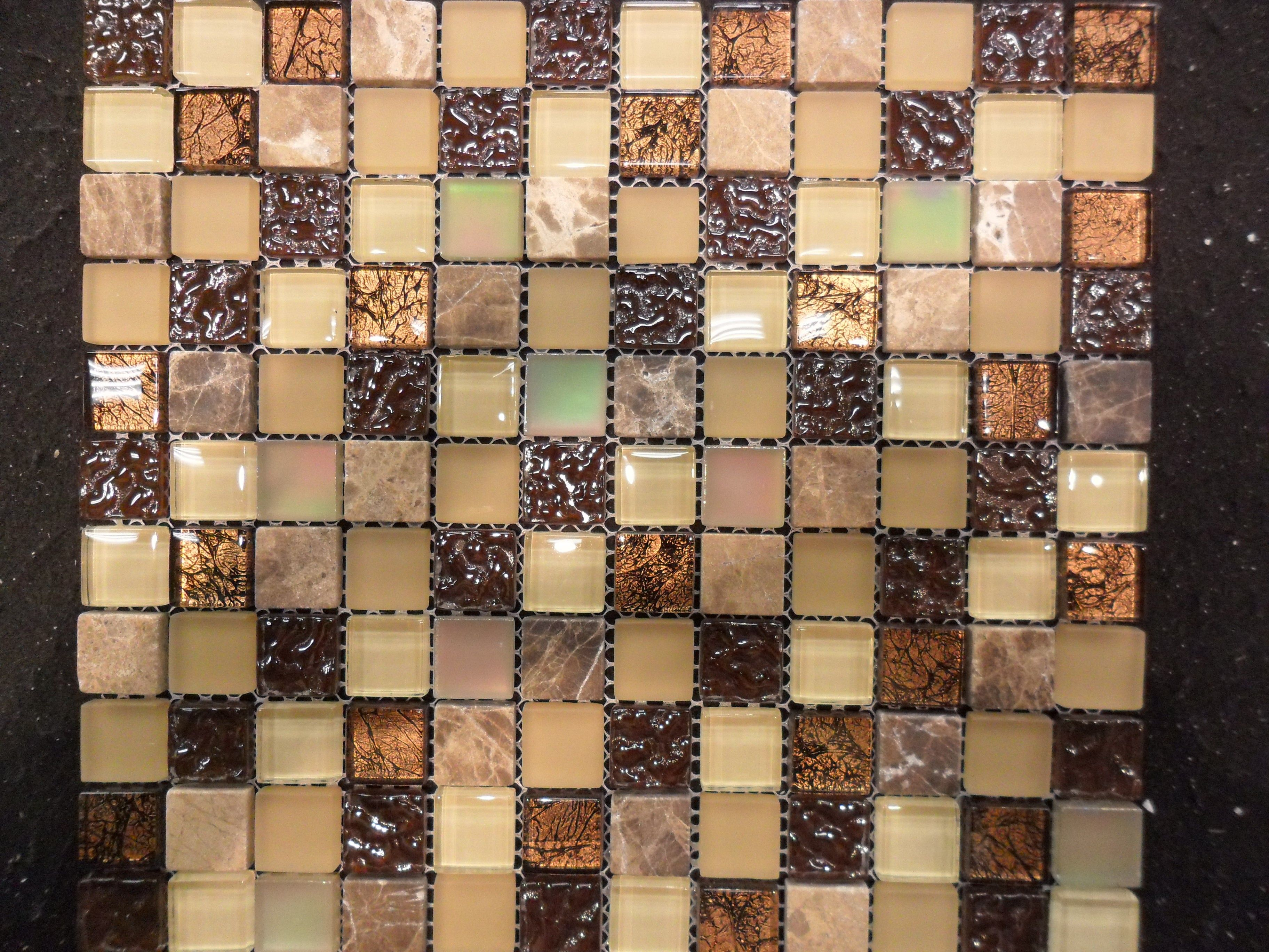 1X1 Glass Tile Stone Mix Copper Look Mosaic Tile Backsplash