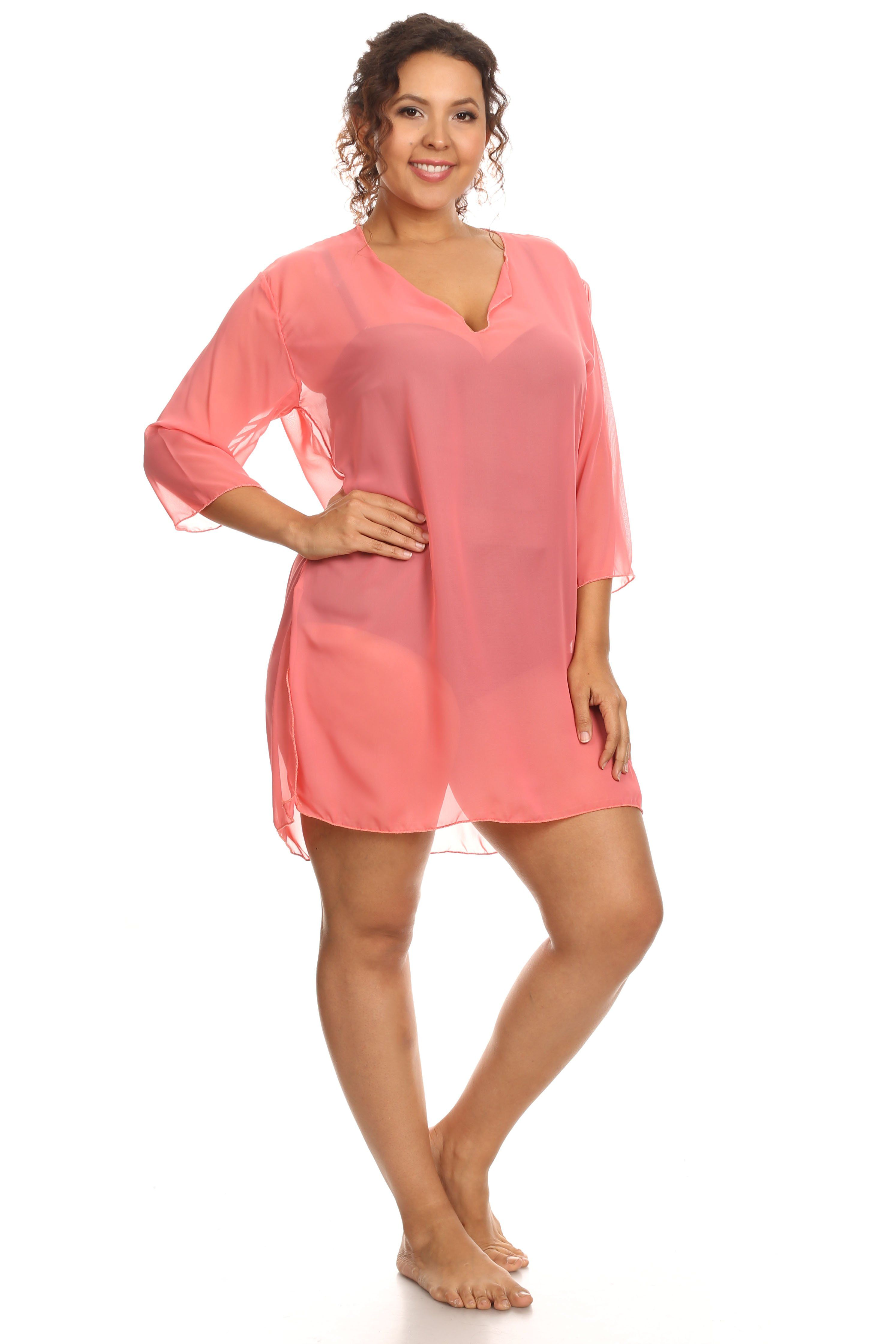 a3457902e7 Plus Size Chiffon Long Sleeve Swimwear Cover-up Beach Dress Made in th -  SHORETRENDZ