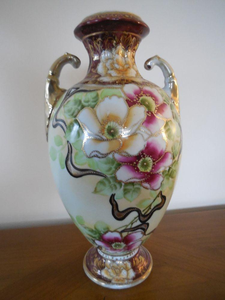 Nippon Double Handled Urn Vase Floral Hand Painted Vintage Rose Gold
