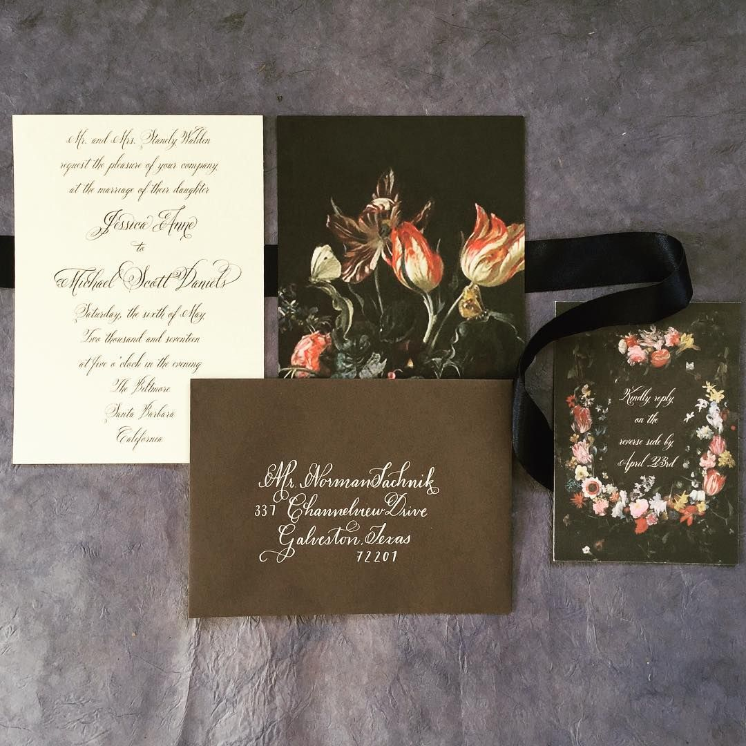 Fl Calligraphy Dark Wedding Invitation Suite Inspired By Dutch Masters Still Life Paintings Black Paper