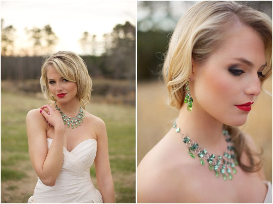 Beautiful Emerald Statement Wedding Jewelry From Aubres Bridal Glam Country Makeup