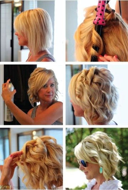 Curl Short Hair Curling Iron Tutorials How To Hacks How To Curl Short Hair Short Hair Styles Hair Styles