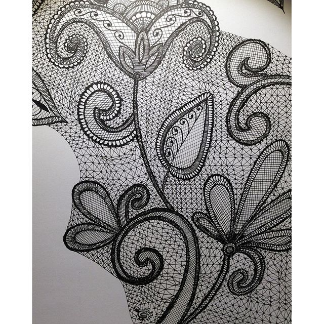 """Work in progress....day 3. Not much time to draw today #zentangle #zentangleart #zendoodle #zendoodleart #draw #drawing #penart #penandink #doodle #doodling #blackandwhite #lace #tanglersofinstagram #wip #workinprogress"" Photo taken by @nikkiwie on Instagram, pinned via the InstaPin iOS App! http://www.instapinapp.com (03/10/2016)"