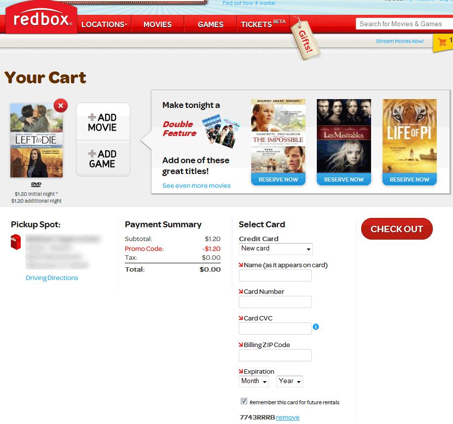 Pinned May 7th Free DVD or bluray rental at Redbox via