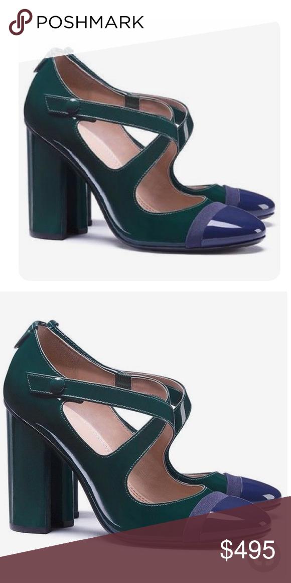 e5a71e60c Tory Burch Ample Criss Cross Pumps Beautiful patent navy blue green block  heel pumps Tory Burch Shoes