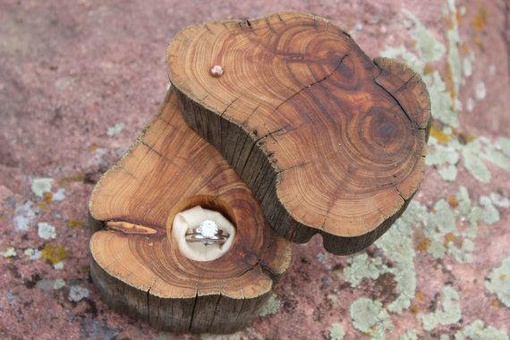 Ring Box Rustic, Proposal Box, Ring Bearer Pillow, Engagement Ring Box, Woodland, Organic, Natural Wedding, Handforged Copper  Juniper