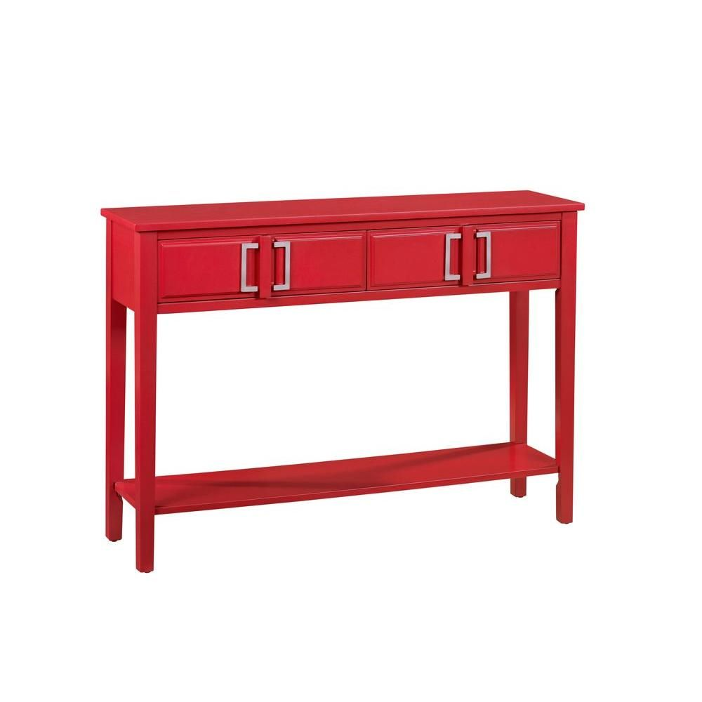 Red storage console table red console table pulaski furniture 2 drawer red console table geotapseo Gallery