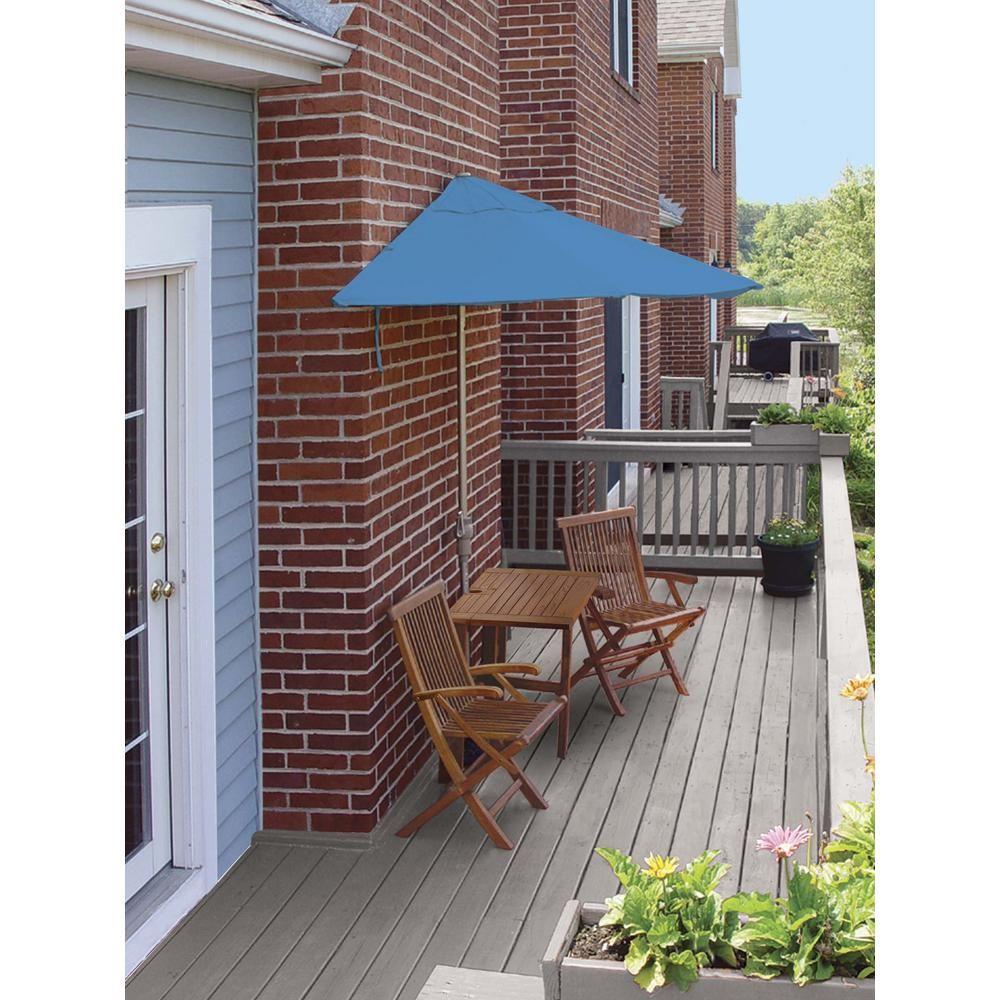 Blue Star Group Terrace Mates Villa Deluxe 5-Piece Patio Bistro Set with 7.5 ft. Antique Beige Olefin Half-Umbrella