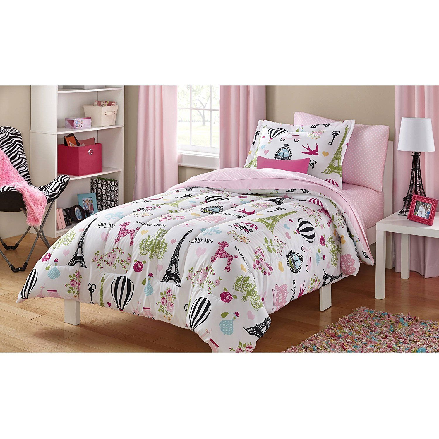 Girls White Pink Parisian Icons Eiffel Tower Comforter Twin Set