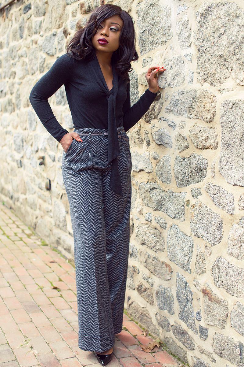 Fall work style, wide leg pants, nars lipstick, sleeveless coat ...