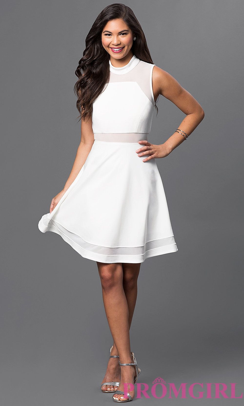 Ivory High Neck Sleeveless Dress by Emerald Sundae EM-EIR-1027-120 ...