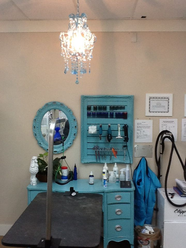 Grooming Station Paint An Old Dressing Table Or Desk An Old Picture Grame And Add Slat Wall Old Mirror Pa Dog Grooming Salons Dog Grooming Shop Dog Grooming