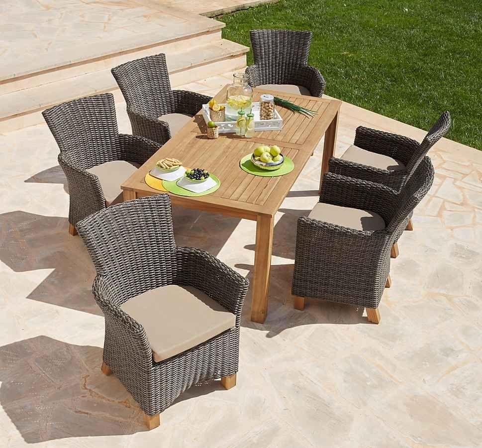 Merxx Gartenmobelset Toskana 13 Tlg 6 Sessel Tisch 185x90cm Polyrattan Akazie Online Kaufen Otto Gartenmobel Polyrattan Gartenmobel Balkonmobel