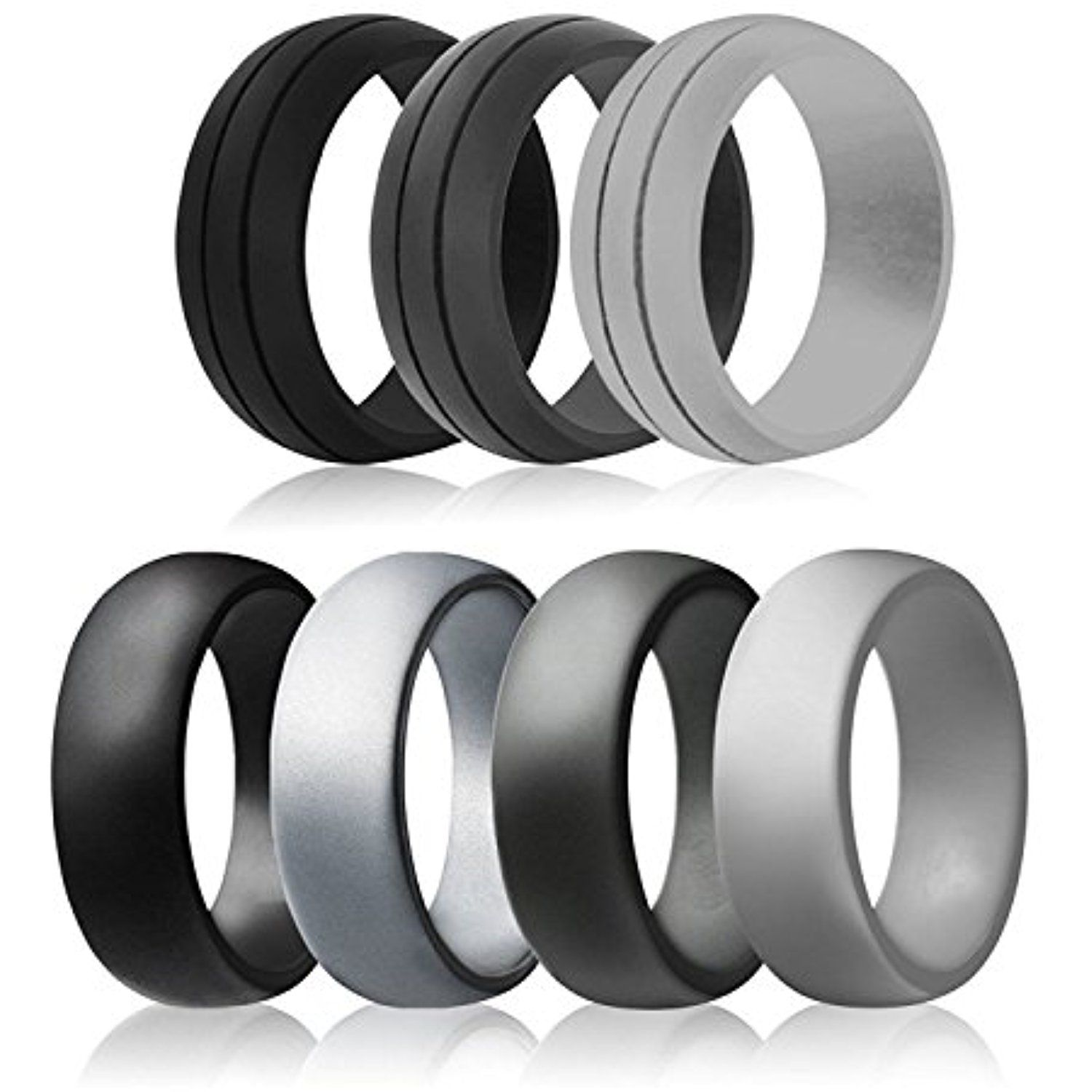 Ikonfitness Silicone Wedding Ring for Men and Women 3 Pack Comfortable Fit Rubber Wedding Ring All Black Come with a Metal Box